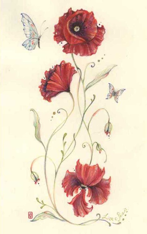 Red Poppies and Butterflies original watercolour painting flower art - Image 0
