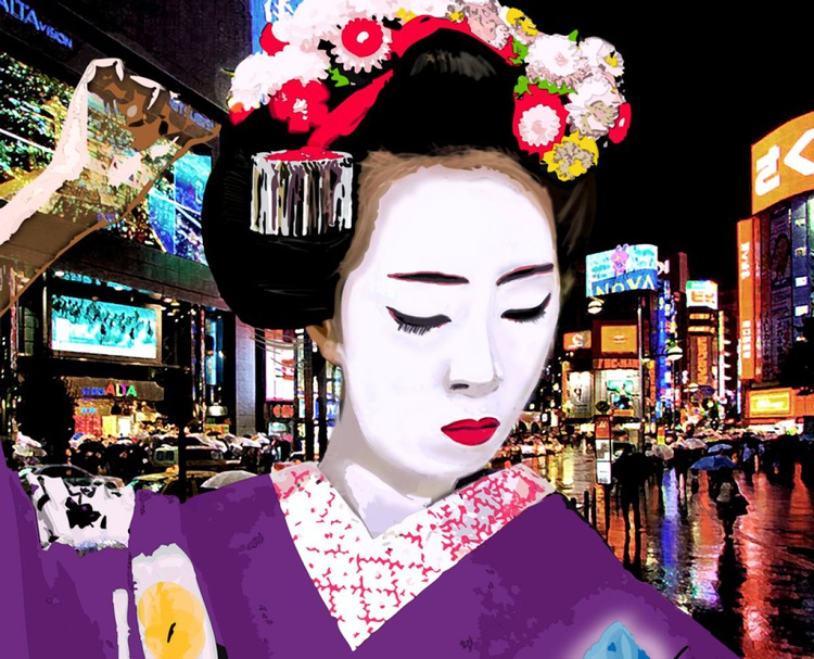 Japanese Geisha with Flowers in Tokyo - Image 0