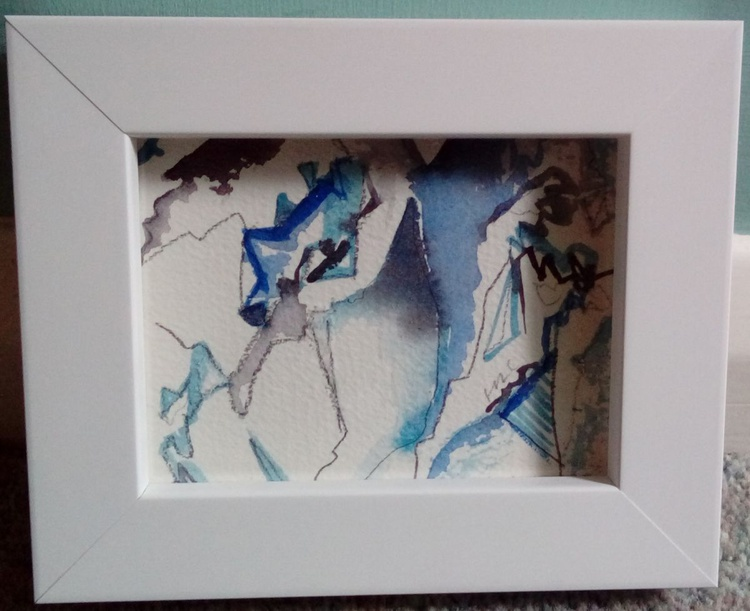 Set of 4 Watercolour Painting Cliff Face Abstracts - Image 0