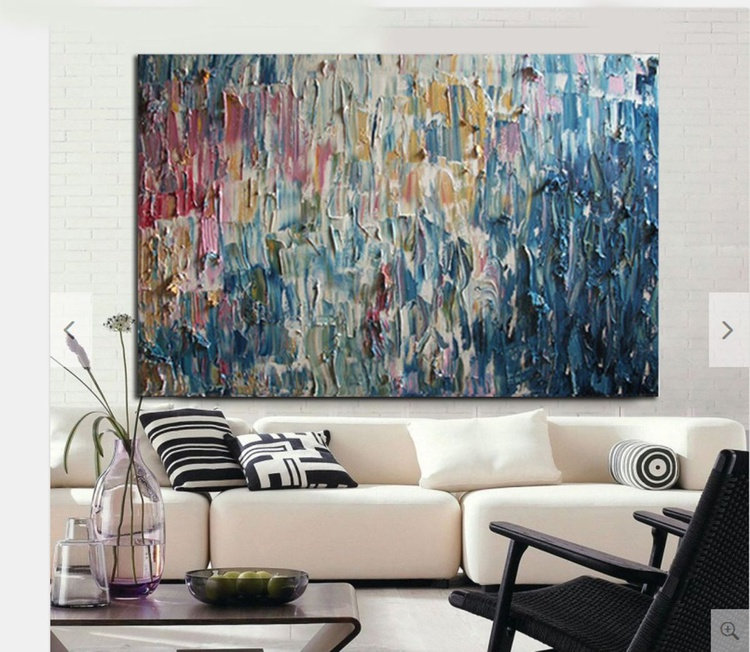 """Pink blues 48''x60"""" Oil On Canvas Palette Knife. Heavy Texture- Michel Campeau - Made to order - Image 0"""
