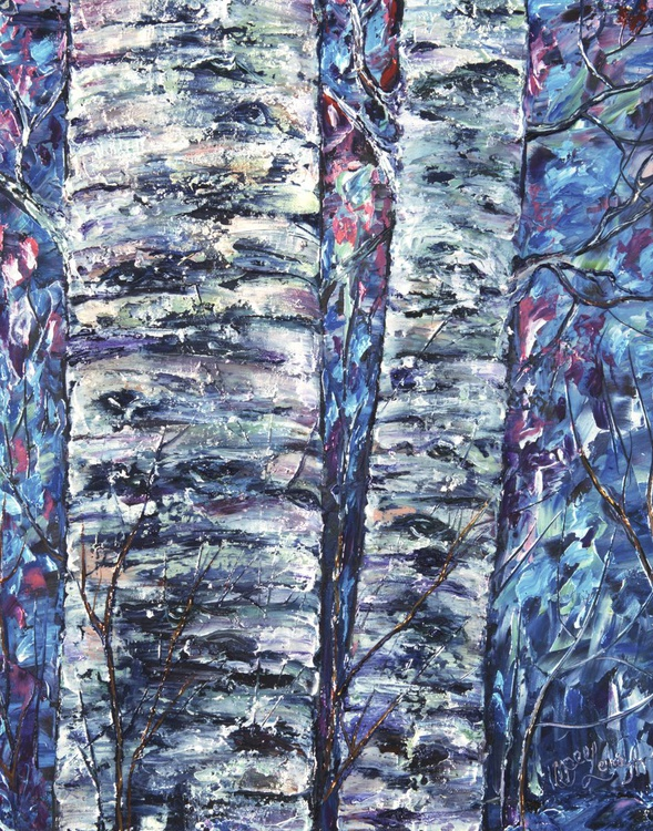 Aspen in Blue (Palette Knife) - Image 0
