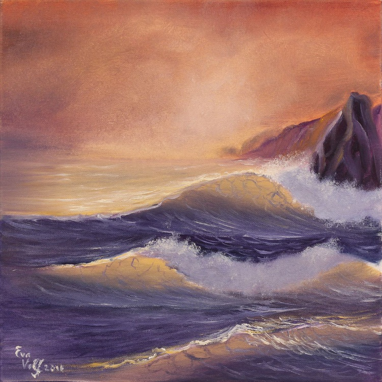 """Seascape in Twilight, original oil painting on canvas, modern ocean art, sea wave painting, small oil painting 12x12"""" - Image 0"""