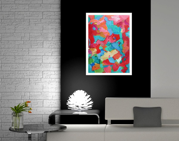 """Red, Pink, Teal & Blue 20"""" x 28""""/51 x 71 cm - Image 0"""