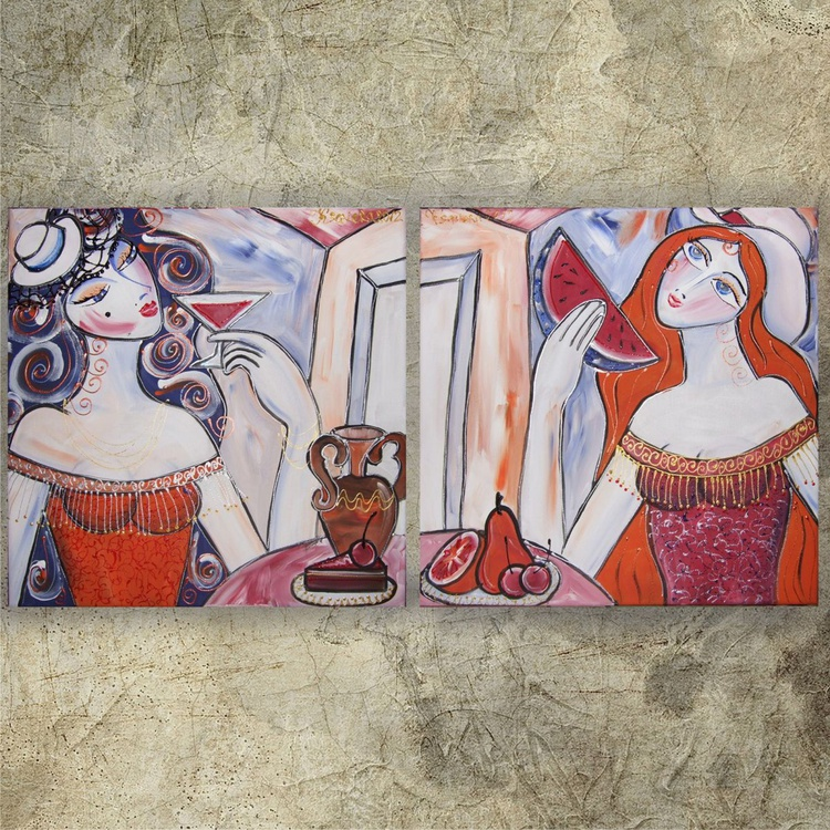 Burlesque 84-85 Portrait of Girlfriends blue orange diptych 40x80cm Paintings coffee shop decor Beautiful Women acrylic on stretched canvas wall art by artist Ksavera - Image 0