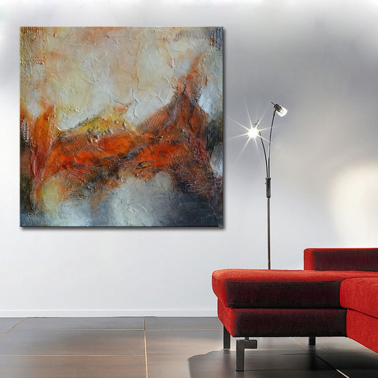 Textured Red Painting, Art Panting Abstract Painting -Mixed Media -Red Colorful Painting- Sculpted Textured Painting -Abstract ArT - Image 0