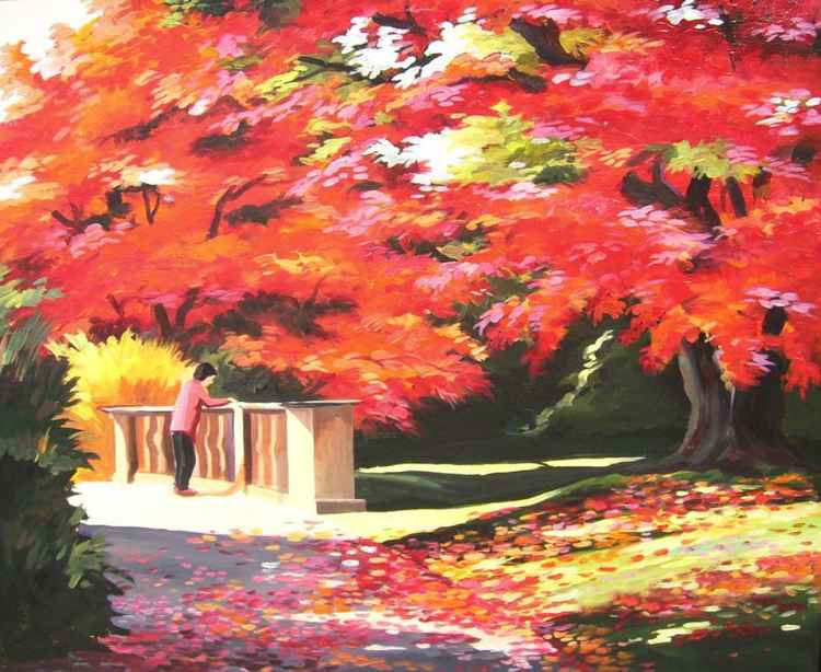 Beauty of Autumn Park-Acrylic on Canvas Painting