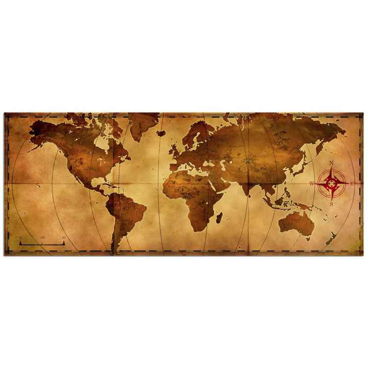 Old World Map | Antique Style Map Art, Giclée on Metal