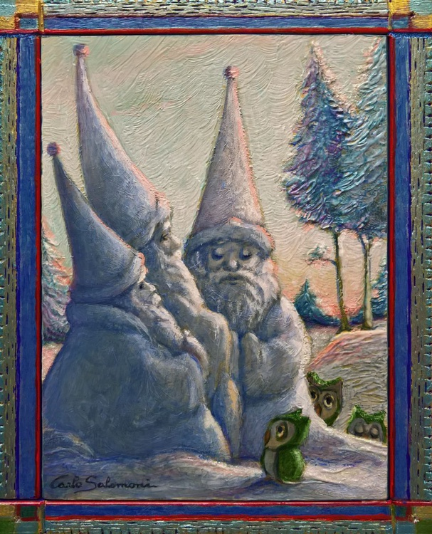 THE SNOW SANTAS AND THE THREE OWLS - ( framed ) - Image 0