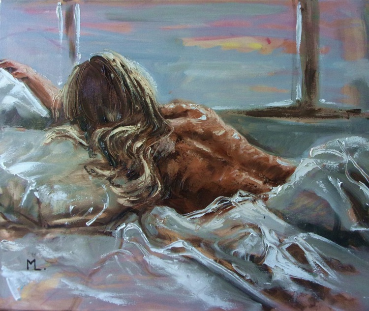 """"""" TIME TO GET UP ... """" - original oil painting on canvas, palette knife - Image 0"""