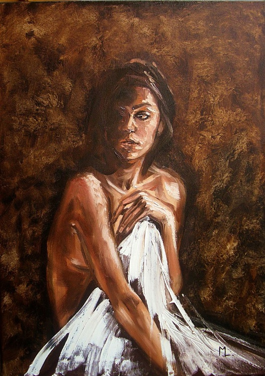 """"""" IN THE SHADOW ... """" - original oil painting on canvas, gift - Image 0"""