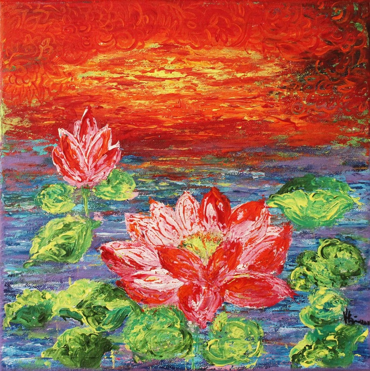 Lotus Pond-Impressionistic Acrylic Painting Ready to Hang - Image 0