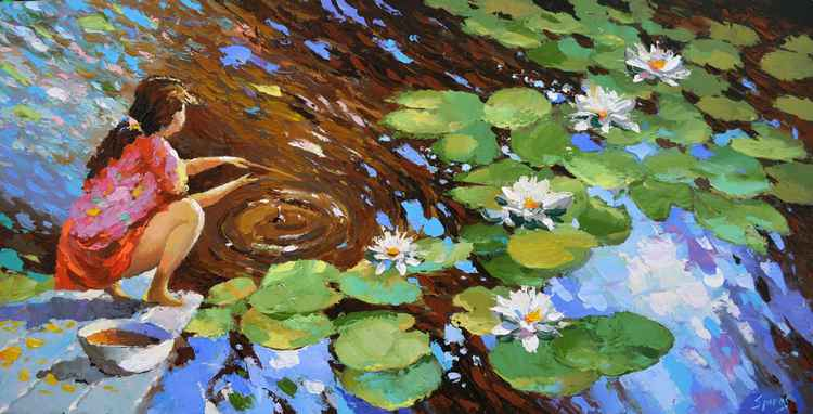 "Girl by the pond - Original Oil acr. palette knife Painting, Size: 60cm x 120cm, (24""x 48"")"