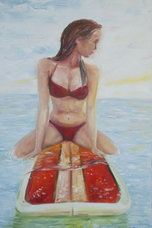Waiting For A Wave (50x75cm) original oil painting sea girl surfer wall art home decor ready to h - Image 0