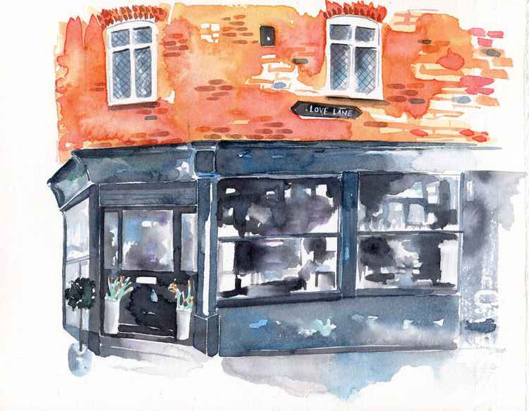 Original Watercolour Painting of Etcetera Vintage Shop in Margate, Kent -