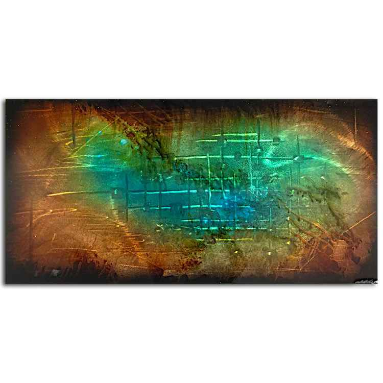 Dream Away | Gold & Teal Wall Art - Earthy Blue/Copper Metallic Painting - Modern Metal Artwork - Contemporary Decor - Abstract Metal Art -