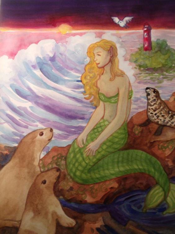 Mermaid with Sea Lions - Image 0