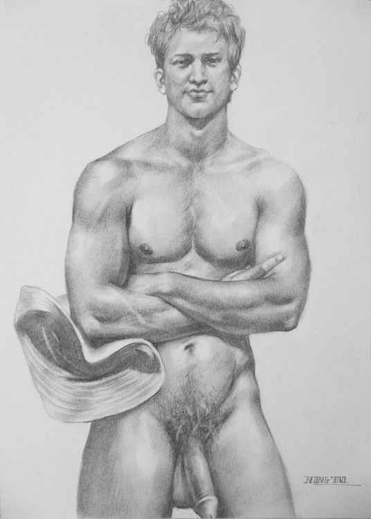original art drawing charcoal cowboy male nude  on paper #16-4-22 -
