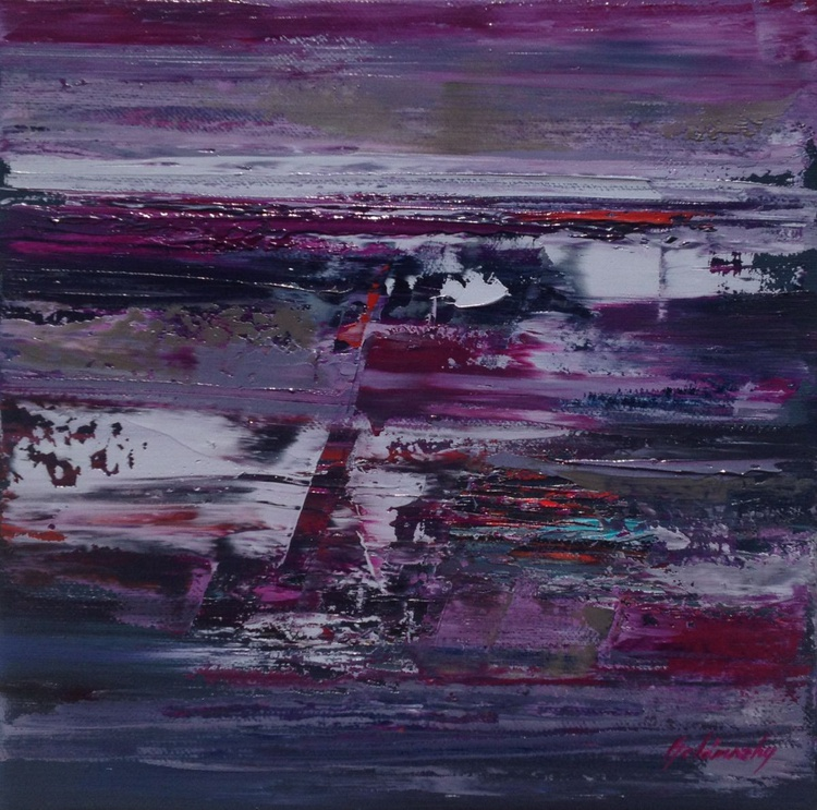 Fields - 30 x 30 cm, gray, purple, magenta abstract landscape oil painting - Image 0