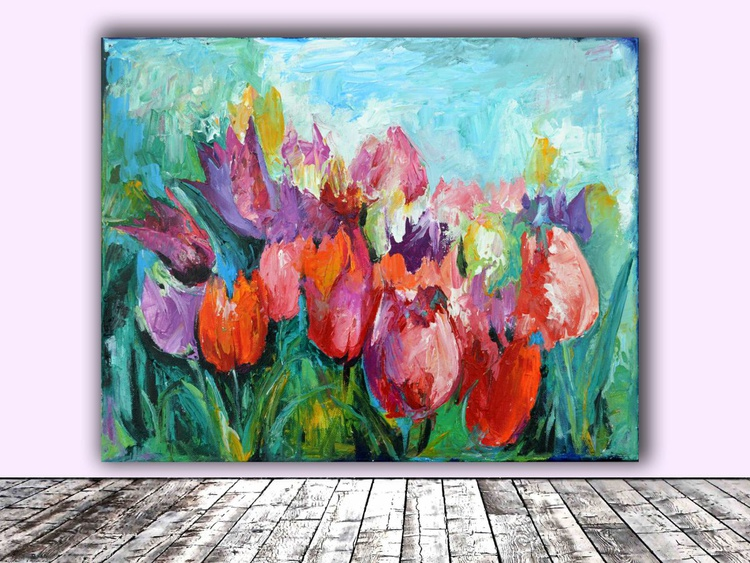 Tulips - Modern Ready to Hang Painting - FREE SHIPPING - Spring Flowers Acrylic Painting, Floral painting - Image 0