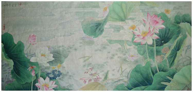 Lotus Flower Blossom in the Mist - Original Painting by Qin Shu