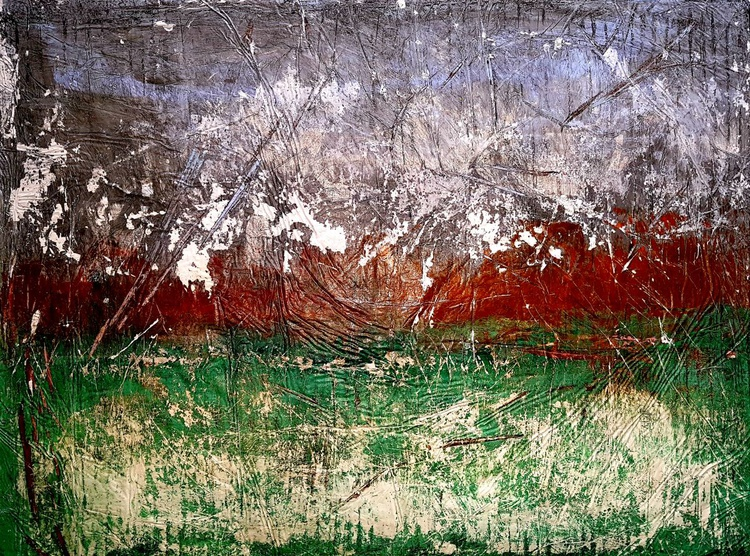 Senza Titolo 228 - abstract landscape - 80 x 60 x 2,50 cm - ready to hang - acrylic painting on stretched canvas - Image 0