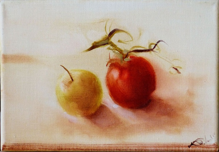 Still Life: Tomato and Apple, oil on canvas 27x19 cm, ready to hang - Image 0