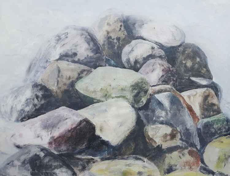 Rocks in fog.