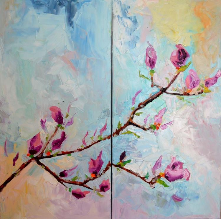 Magnolia Spring - Big, Large Modern Ready to Hang Painting - Flower Oil Painting, Floral painting - Image 0