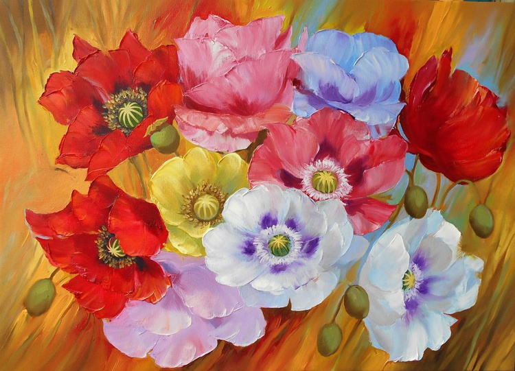Poppies/Oil on canvas/Free Shipping - Image 0