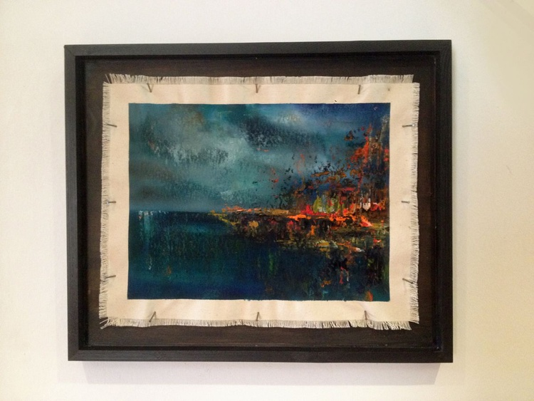 Lights on the Water - Original One of a Kind Abstract Landscape Oil Painting - Image 0