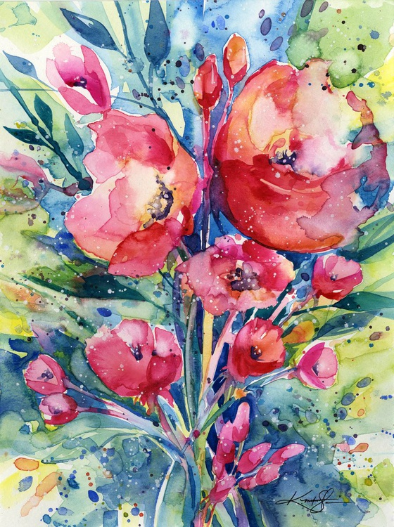 Alluring Blooms 2 - Floral Watercolor by Kathy Morton Stanion - Image 0