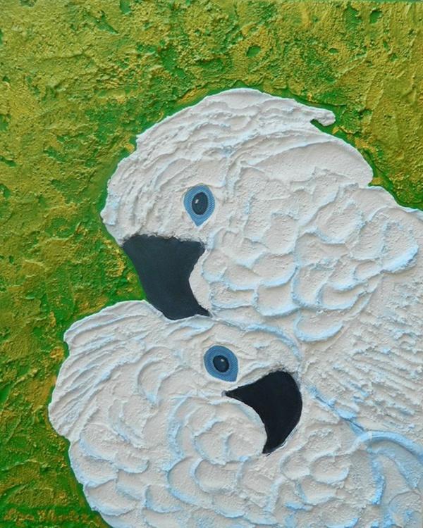 Serenity - Original, unique, impressionist figurative, white love birds, impasto painting - Image 0