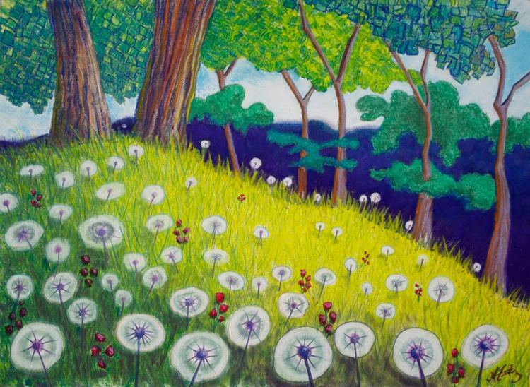 Resting Place with Trees and Dandelions, Original Pastel Landscape - Image 0
