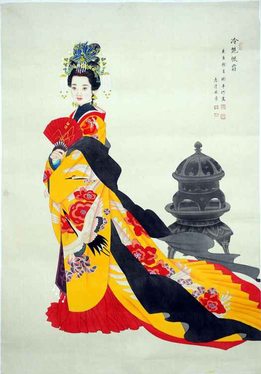 Chinese watercolour portrait paining, the princess in palace-35