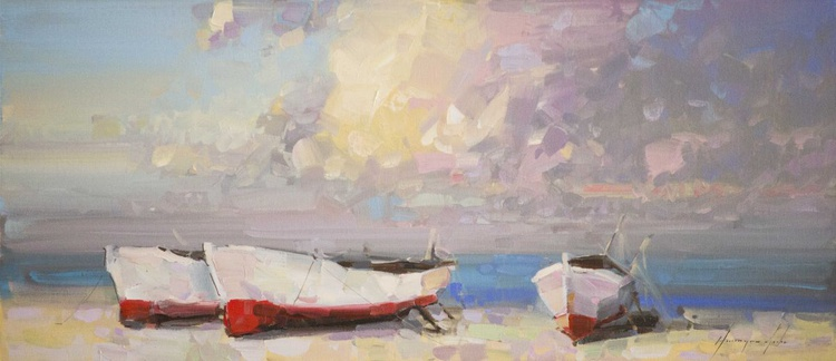 Boats on the Shore  Handmade oil painting One of a kind - Image 0