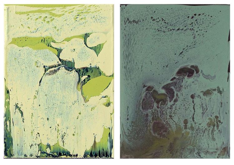 Working in varnish 154 (Diptychon-yellow-blue) - Image 0