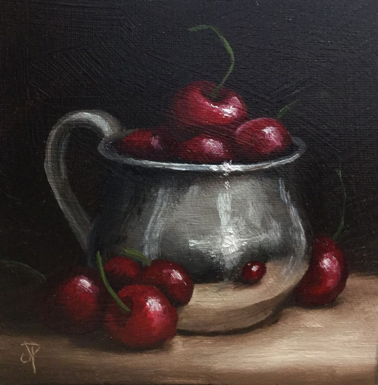 Cherries in silver cup - Image 0