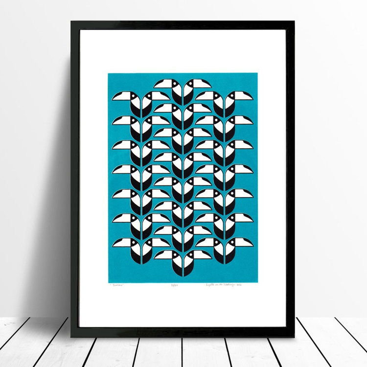 Toucans (turquoise) - Framed FREE UK Delivery - Image 0
