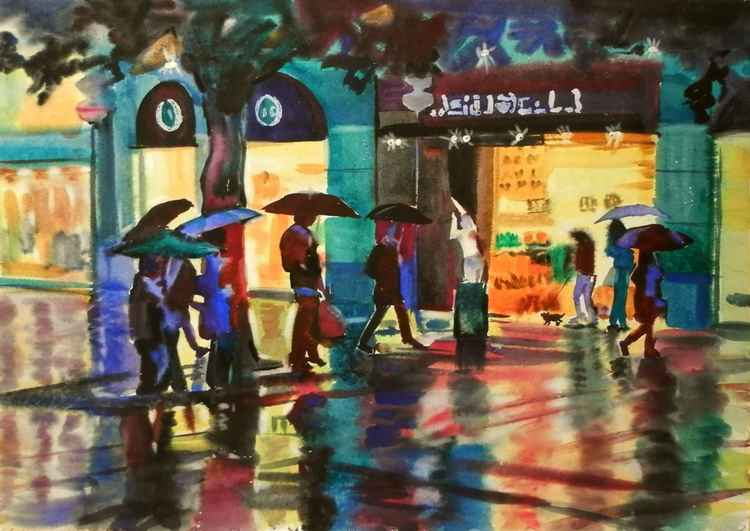 rainy shopping, large watercolor 98x68 cm -