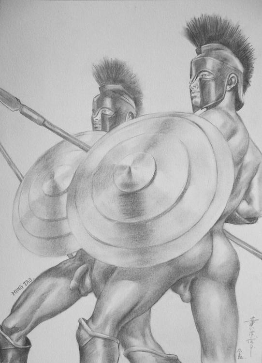 ORIGINAL DRAWING PENCIL  ART MALE NUDE GAY LOVER MEN ON PAPER#16-7-4 - Image 0
