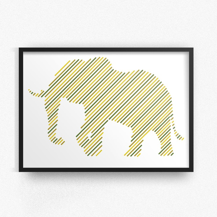 Elephant Geometric Stripe Print - Image 0