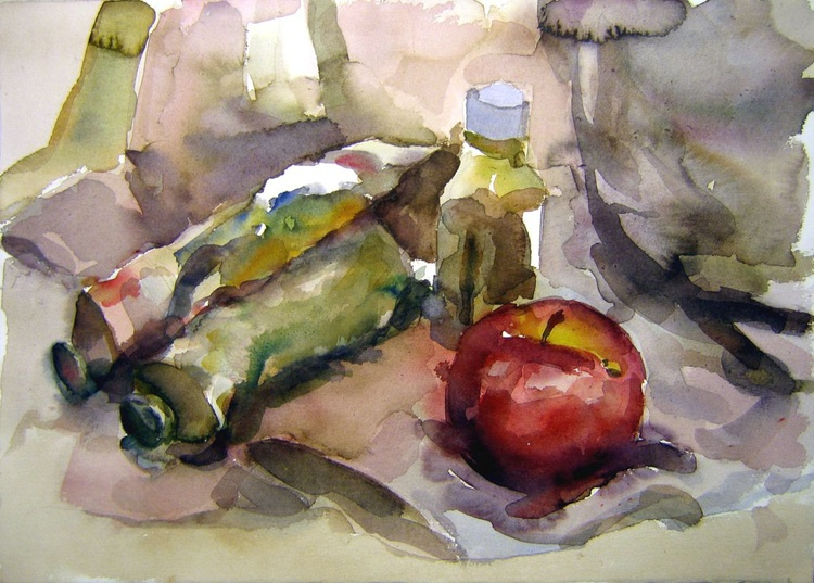 stil life with apple and tubes... - Image 0
