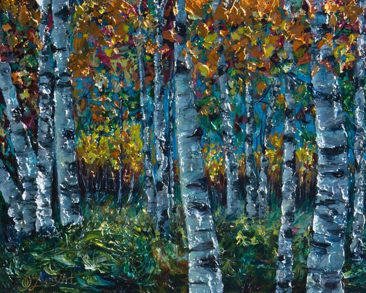 Aspen Trees (Palette Knife) - Image 0