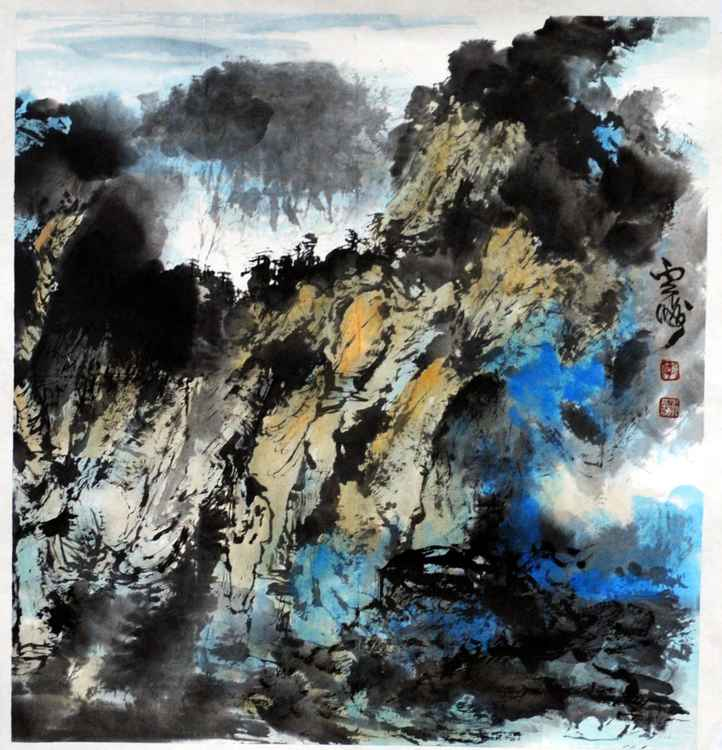 Chinese watercolour Landscape paining,with heavy colour-18 -