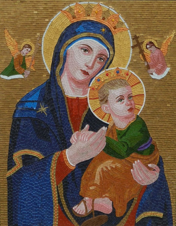 Mother of Perpetual Help - glass micro mosaic art, mixed media glass mosaic byzantine icon - Image 0