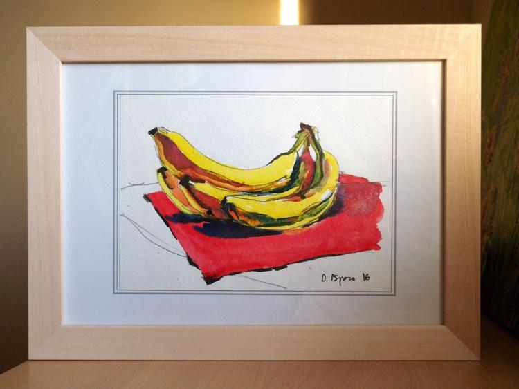 Bananas on a red, Framed - Image 0