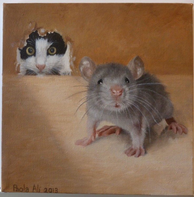 """""""this make me crazy"""" cat and mouse story oil painting by Paola Ali' - Image 0"""