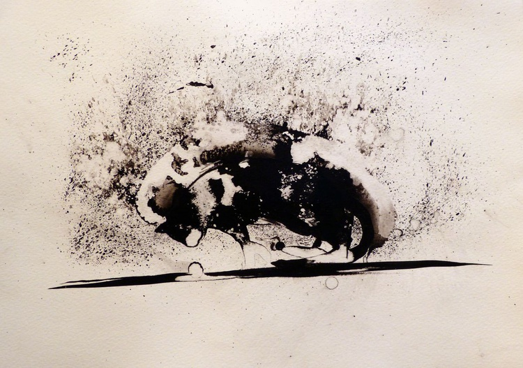 The Cat in the rain, ink drawing 29x42 cm - Image 0