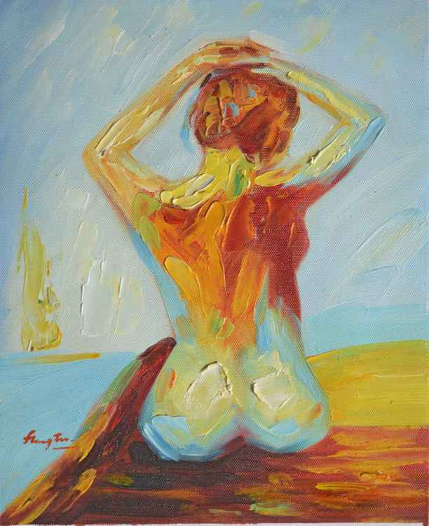 ORIGINAL  KNIFE OIL PAINTING ABSTRACT ART-FEMALE NUDE GIRL ON LINEN#16-5-20 -
