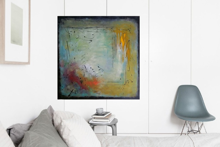 """37,5 by 37,5""""(95x95cm) ,""""MoonFall 3'',  square abstract painting - Image 0"""